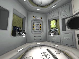 A Jebediah's-Eye View from inside the habitat pod.  Oh look, there's Calrey!